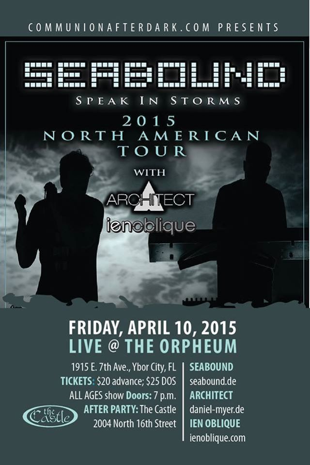 Join Ien Oblique in concert April 10 in Tampa, Florida.